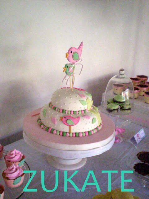 Bautismo Decoracion Vintage ~   Torta Con Pajarito, Torta Bautismo, Tortas Infantiles, Torta Pajaritos