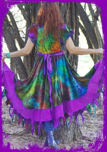 "Trust bamboo velvet & fleece. Hand dyed. Magical mandala on bodice Measurements Bust 38"" -45"" {97cms-115cms} belt adjusts size Length 55"" {140cms} Sleeves 6""{15cms} Price $340"