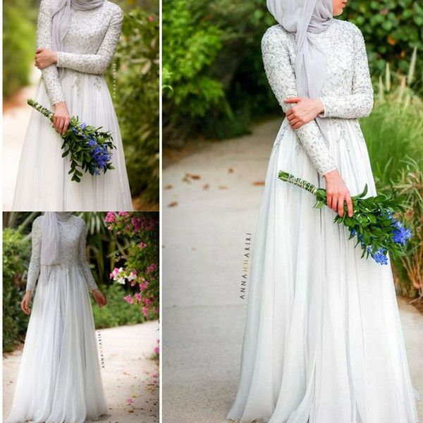 Delphinium Muslim Hijab Wedding Dresses with Long Sleeves 2015 Muslim Wedding Dress Beaded Floor Length High Neck islamic Bridal Gowns