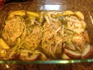 Roasted Ranch Pork Chops and Potatoes-made this tonight and it is DELICIOUS! We even added green beans after baking it and let them soak up the juices. Yum!