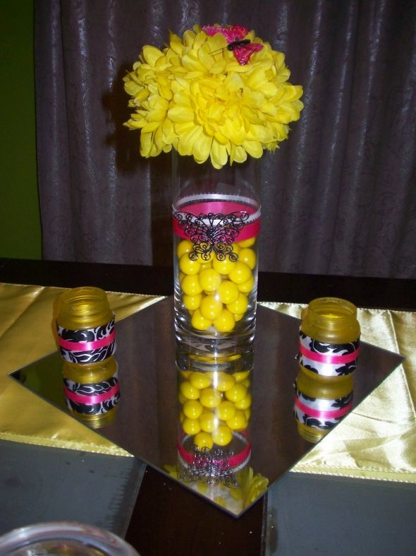My bold bright centerpieces wedding