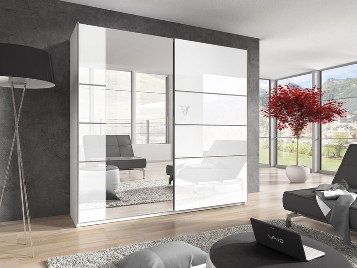 Brand New Modern Bedroom Wardrobe 2 Sliding Door Beta 2 in white and mirror in Home, Furniture & DIY, Furniture, Wardrobes   eBay