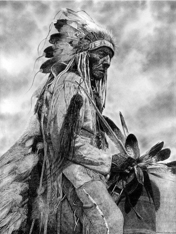 natif américain crayon chef dessin
