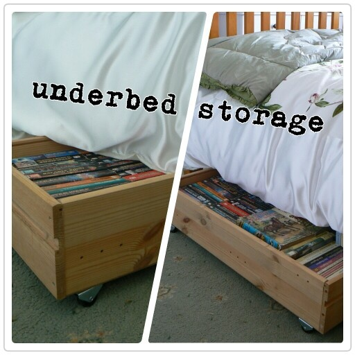 Old draws reused to make underbed storage with wheels.