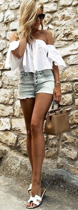 #summer #trending #outfits | White Ruffle Bardot Crop + Denim Shorts