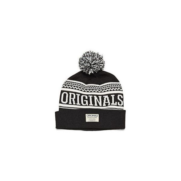 JACK & JONES Patterned Beanie ($9.64) ❤ liked on Polyvore featuring men's fashion, men's accessories, men's hats, mens bobble hats, men's brimmed hats and mens beanie hats