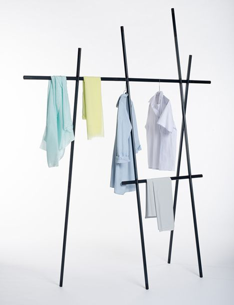 Clothes rack by Martha Schwindling could be mistaken for a drawing