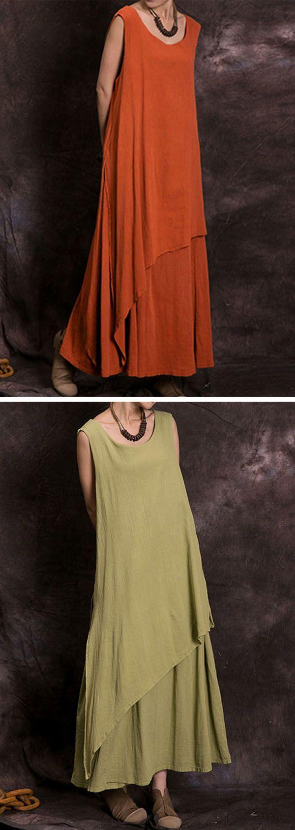 US$20.73 Gracila Vintage Layered Irregular Sleeveless O-neck Maxi Dress For Women
