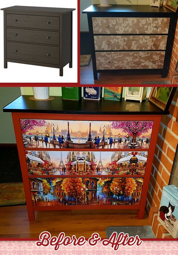 "From original to first makeover to second makeover. And this one is the final, 'cause I am absolutely in love with this IKEA drawer! For the second makeover I used Rustoleum's chalked paint ""Fire Brick"" and decoupaged different painters' beautiful pieces of art"