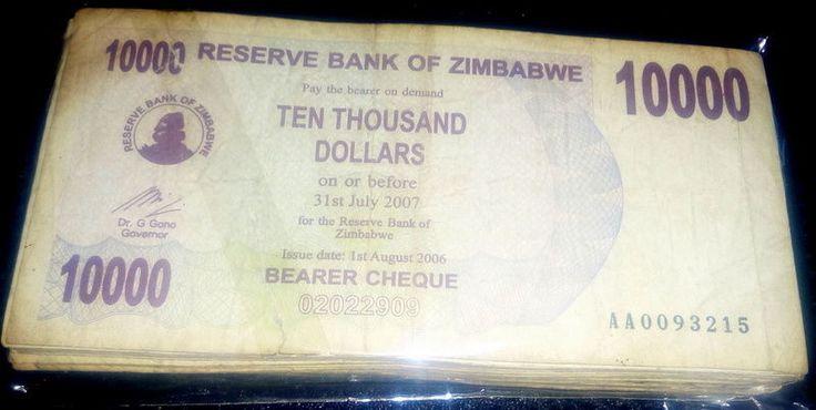 Zimbabwe 10,000 (10000) Dollars. 25 Pieces (PCS), 2006, Circulated,Used.