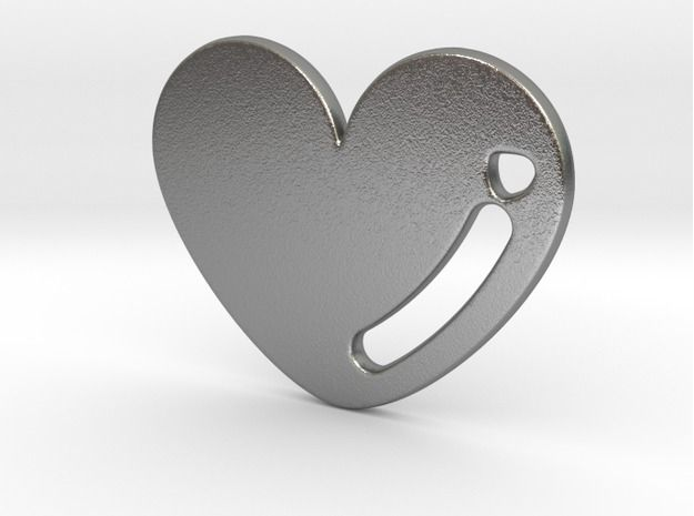 Raw Silver Love Heart Pendant 3d printed
