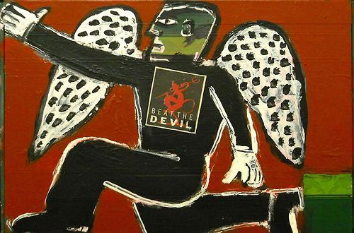 """""""beat the devil"""", nolan outsider, 15""""x 15"""", acrylic on recycled wood…clik for ebay fun"""