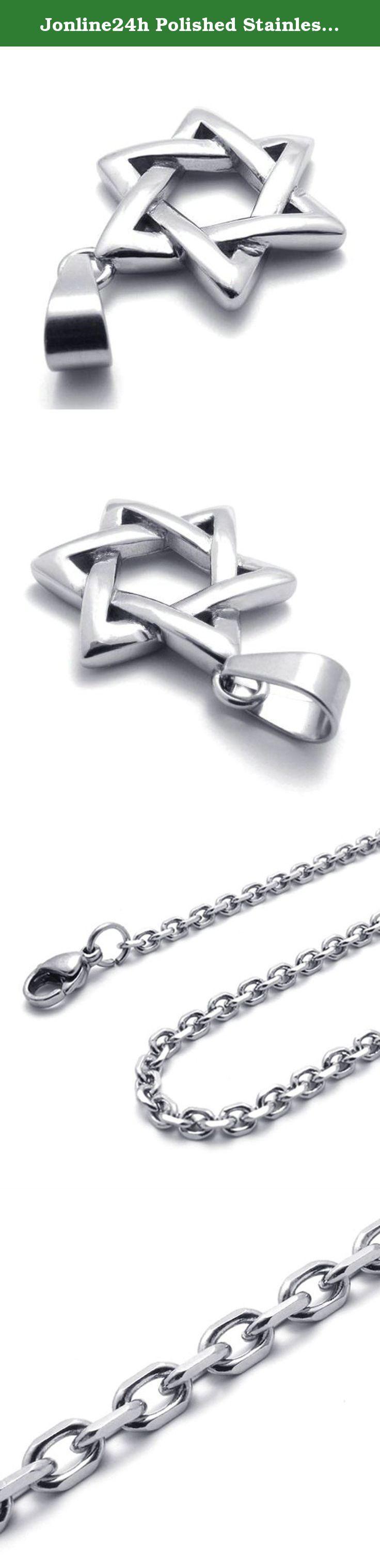 Shema israel bracelet israel bible jewish hebrew prayer kabbalah shma - Jonline24h Polished Stainless Steel Necklace Lucky Star Of David Pendant Silver 18