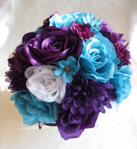 Teal And Purple Wedding Bouquet