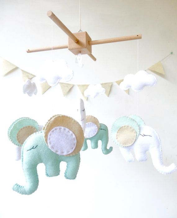Elephant Baby Crib Mobile / Elephant Mobile / by LaPetiteMelina