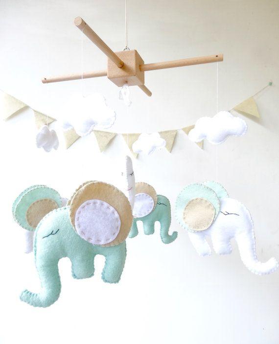 Elephant Baby Crib Mobile / Elephant Mobile / by LaPetiteMelina