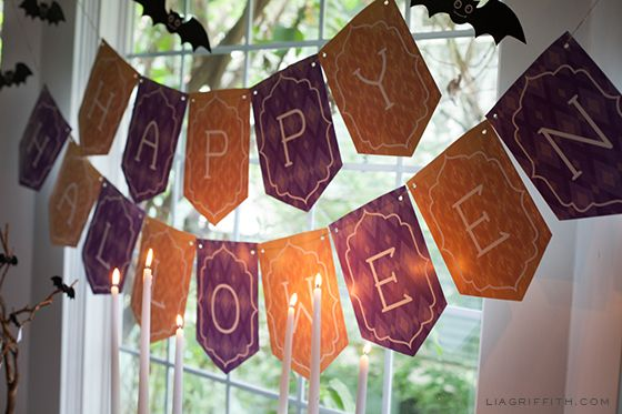You can never have too much Halloween decor, can you? Check out these free Halloween party and decor printables from Lia Griffith. Hang the bats alongside the Happy Halloween banner or on their own throughout your home!