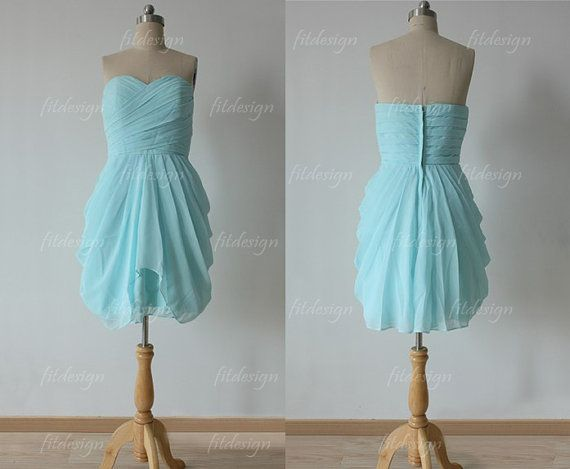 tiffany blue dress bridesmaid short bridesmaid dress by fitdesign, $87.00... I love this design!