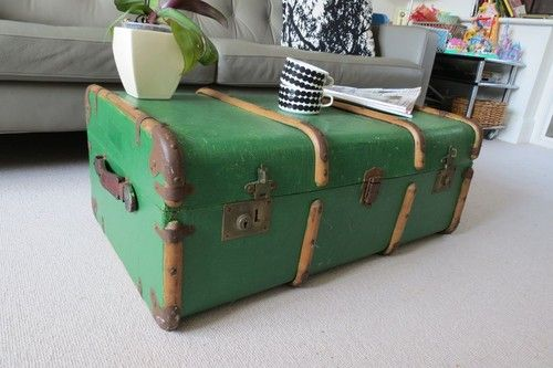 Unusual Green Vintage Shabby Chic Steamer Trunk Chest Coffee Table | eBay