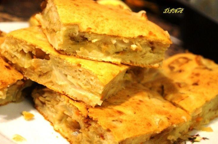 Заливной пирог с капустой на кефирном тесте