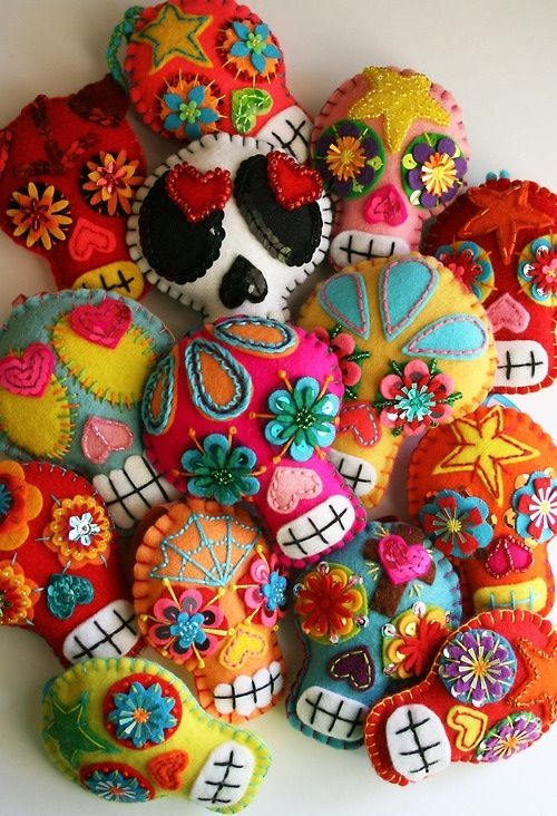 Colorful Felt Skulls
