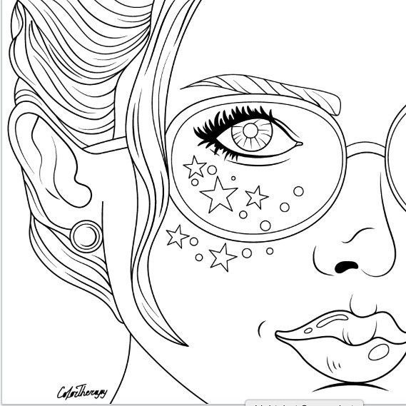 Pin On Adult Coloring Pretty Faces
