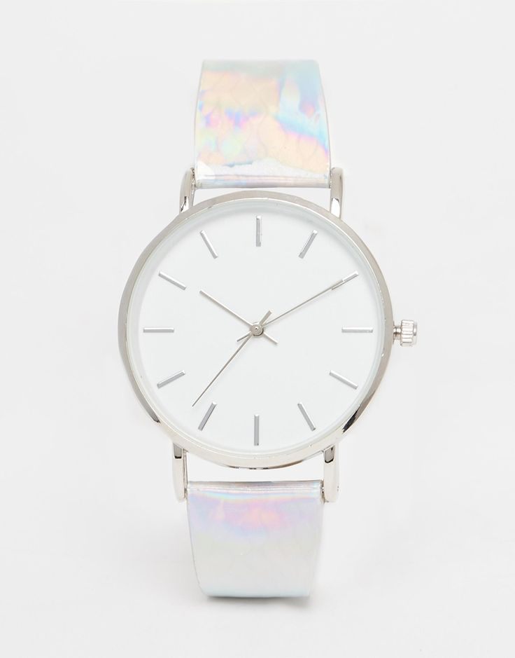 Image 1 of ASOS Clean Dial Holographic Bubble Strap Watch
