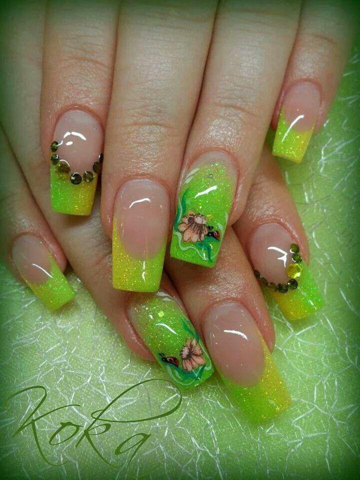 Mejores 48 imágenes de uñas color verde en Pinterest | Uñas bonitas ...