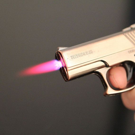 HOT NEWLY ITEM   Gun Shape Refillable Butane Cigarette Lighter Copper with Red Light