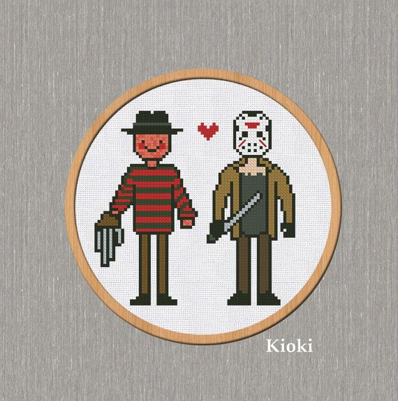 Cross Stitch Pattern Freddy and Jason Instant от TinyNeedle