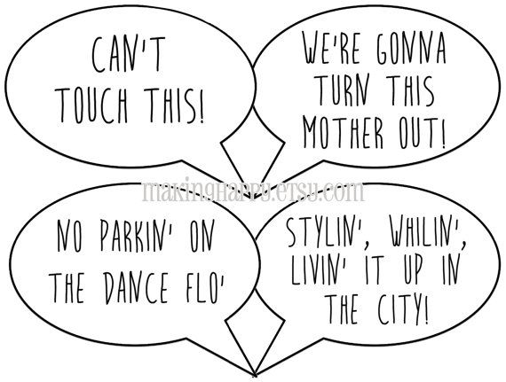 Funny Photo Prop Talk Bubbles  Music Lyrics Edition by MakingHappy - 10 great talk bubble photo props printed on premium card stock (with wooden dowels) to make your party extra fun! Check 'em out!