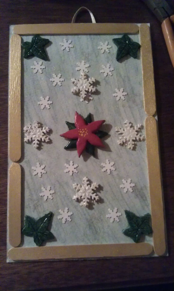 Dancing snowflakes - winter picture playing with clay