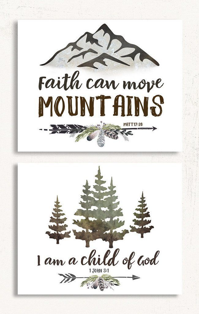 Rustic Boys Wall Art Set of Two - Bible Verse for Boys - Rustic Woodland Nursery Decor #mediaroomdecor #Rusticcabins