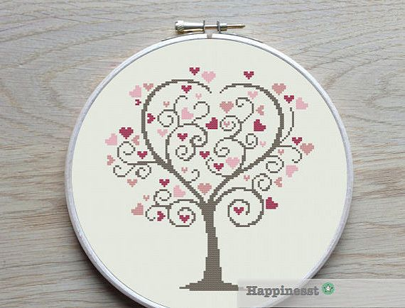cross stitch pattern love tree, wedding tree, valentine, PDF pattern ** instant download**