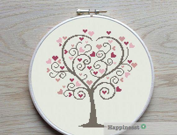 cross stitch pattern love tree, wedding tree, valentine, PDF pattern ** instant download**