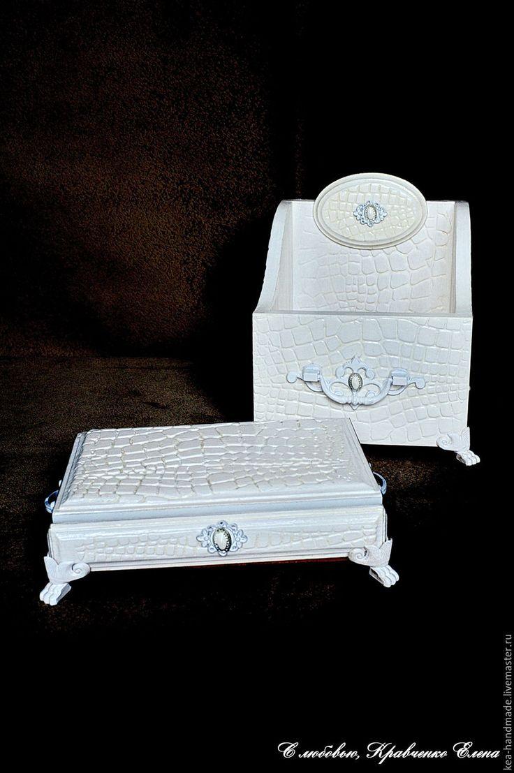 """Купить Набор на туалетный столик """"А ля крокодилъ"""" - белый, подставка, для туалетного столика"""