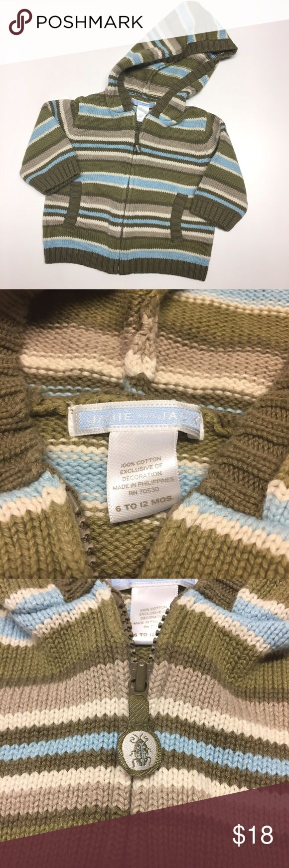 Janie and Jack Blue hooded sweater Janie and Jack Green and Blur Striped Zipper Front Hooded Sweater. Size 6-12 months. Excellent condition. Janie and Jack Shirts & Tops Sweaters