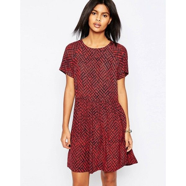 Pepe Jeans Gea Printed Babydoll Dress (320 BRL) ❤ liked on Polyvore featuring dresses, red, zipper back dress, red babydoll dress, pepe jeans london, viscose dress and loose dresses
