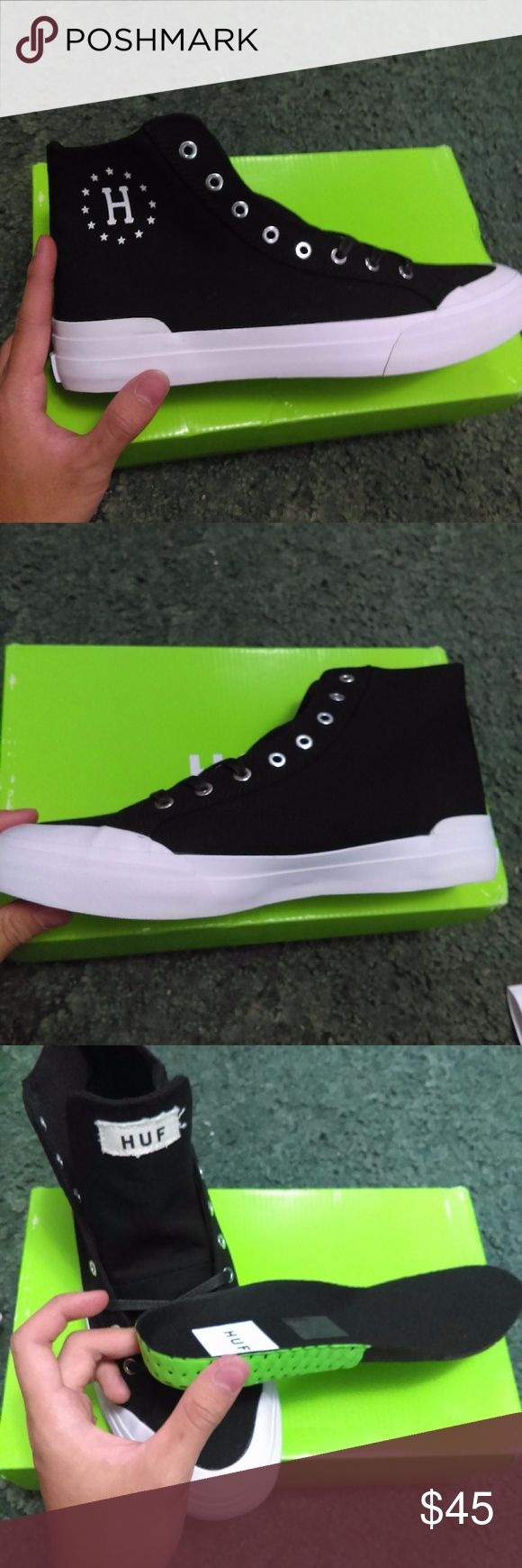 *repost* HUF skate shoes sneakers high top accidentally click accept on somebody's offers and had to repost it since they won't let me edit it * Brand new with box, size 8.5, need it gone ASAP* *original price $70.00* reasons to sell is because I need money to buy a new phone HUF Shoes Sneakers
