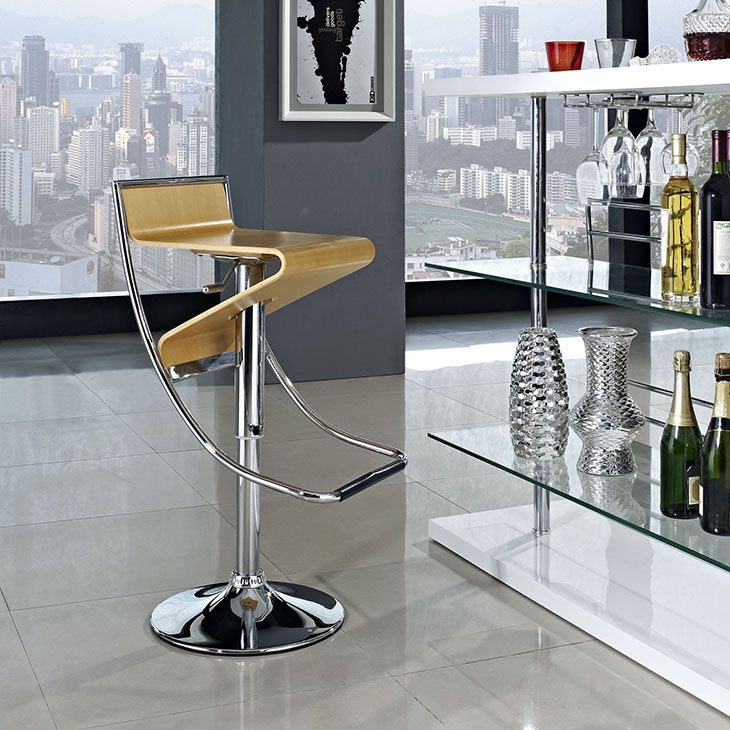 ZIG ZAG BAR STOOL IN NATURAL With Its Visually Compelling Design And Sturdy  Steel Frame