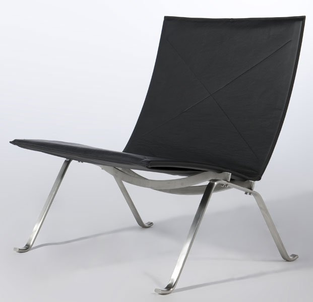 Republic of Fritz Hansen, PK22 chair by Poul Kjaerholm, 1956. PK22 was awarded the Grand Prix at the Milan Triennale. The discrete and elegant lounge chair epitomises the work of Poul Kjaerholm and his search for the ideal type-form and industrial dimension, which was always present in his work.