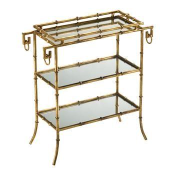 Hollywood Regency Gold Leaf Gilt Bamboo Mirror End Table