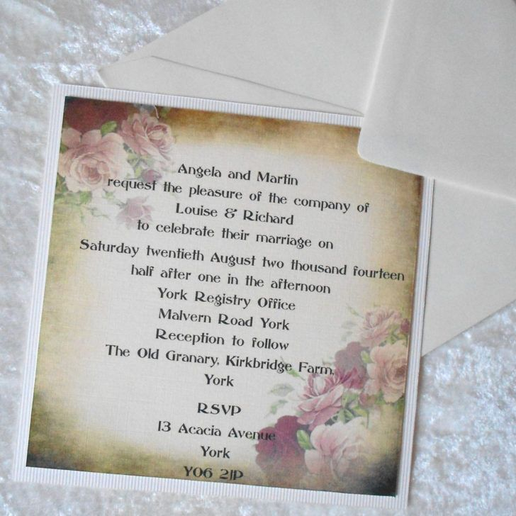 sample of wedding invitation letter%0A Wedding  Vintage Shabby Chic Wedding Invite with Roses On Grunged  Background Template Sample