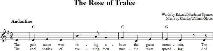 The Rose of Tralee sheet music with chords and lyrics for C instruments including flute, violin, etc. View the whole song at http://chordzone.com/music/c/the-rose-of-tralee/