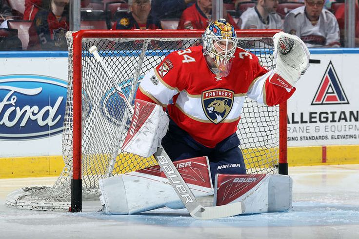 SUNRISE, FL - MARCH 14: Goaltender James Reimer #34 of the Florida Panthers warms up prior to the start of the game against the Toronto Maple Leafs at the BB&T Center on March 14, 2017 in Sunrise, Florida. (Photo by Eliot J. Schechter/NHLI via Getty Images)