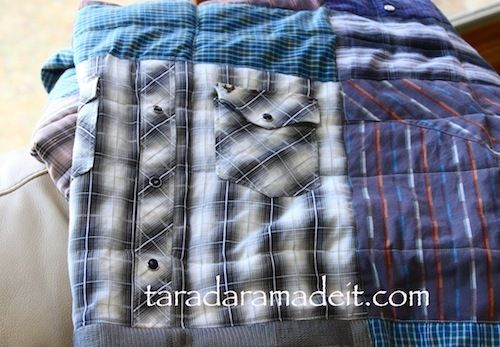 I want to do this with my Grandpa's old shirts. You have to see what this quilter did on the underside of this quilt! Talk about sentimental.