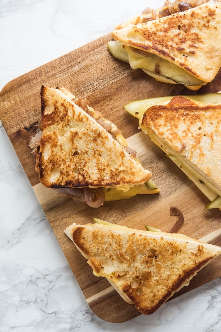 Caramelized Onion Dill Pickle Grilled Cheese   Best grilled cheese, unusual grilled cheese recipes, entertaining tips, party ideas and more from @cydconverse