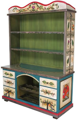 "Hand Painted and Crafted Buffet with Wine Rack From Sticks, Inc., Dimensions: 60""W 24""D 85""H."