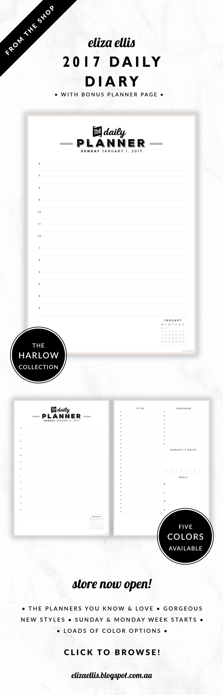 2017 Printable Daily Diary with Bonus Planner Page // The Harlow Collection by Eliza Ellis. Gorgeous vintage typography design. Includes quick reference calendar and plenty of room for notes. Planner page includes generous to do list, meal planner, tomorrow list and exercise and water planner. Available in 5 colors – cigar, perfume, moonshine, roadster and sterling. Monday and Sunday week starts included.