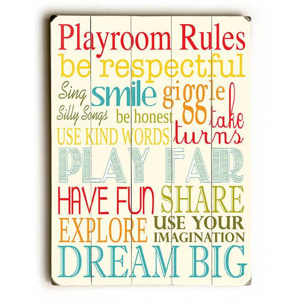 Playroom Rules Wood Sign
